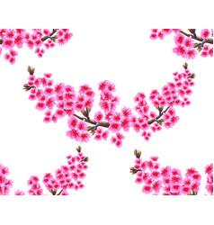 Sakura two branches with delicate lush purple vector
