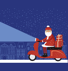 Santa claus delivering christmas gifts vector