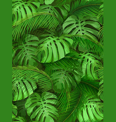 Seamless background of tropical leaves vector