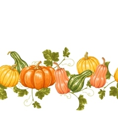 Seamless border with pumpkins Decorative ornament vector image