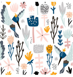 seamless pattern with colibri and flowers vector image