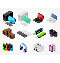 Set of high-tech gadgets vector