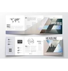 Set of tri-fold brochures square design templates vector