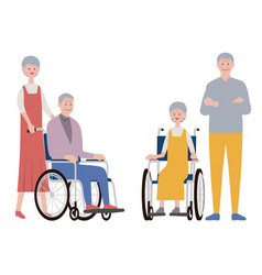 set old people isolated on a white background vector image