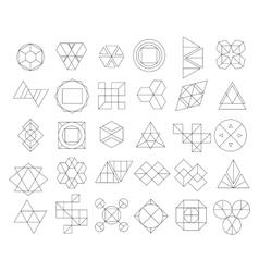 set outline hipster logos and design elements vector image