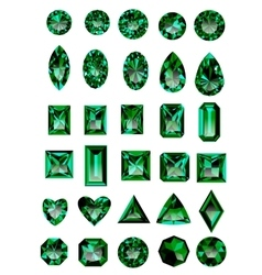Set realistic green emeralds vector
