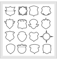 Shield frames icons set - vintage heraldic shields vector