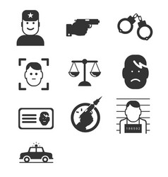 Simple crime icons set vector