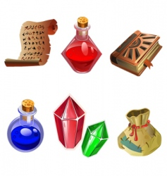 six icons of magic vector image