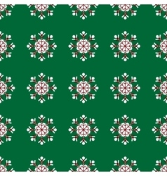 snowflakes on green background Christmas seamless vector image