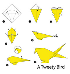 step instructions how to make origami a bird vector image