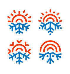 Sun and snowflake emblems weather temperature vector