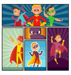 superheroes banners kids heroes characters in vector image