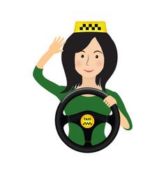 taxi driver girl holding wheel order a taxi vector image