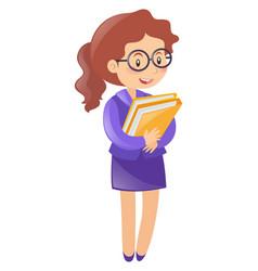 teacher holding two folders vector image
