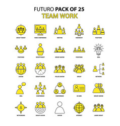 Team work icon set yellow futuro latest design vector
