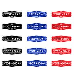 top 5 top 10 top 20 top 50 top 100 badge vector image