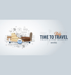 travel to italy time to travel banner with vector image