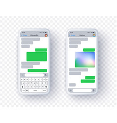 two screen text app for mobile phone messenger vector image