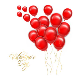 valentine day golden text with red balloons vector image