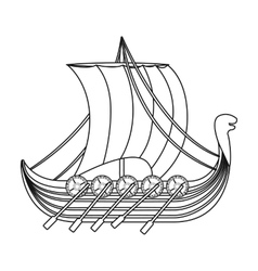 Viking s ship icon in outline style isolated on vector
