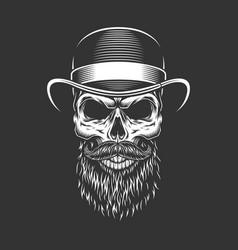 Vintage gentleman skull in fedora hat vector