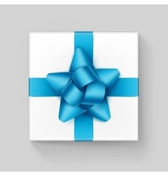 White Gift Box with Light Blue Ribbon Bow Isolated vector image
