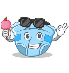 with ice cream baby diaper character cartoon vector image