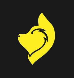 yellow dog symbol icon vector image