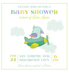 baby shower card cute parrot flying on a plane vector image vector image