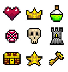 color pixel objects games icons set vector image