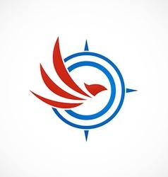 eagle bird compass abstract logo vector image
