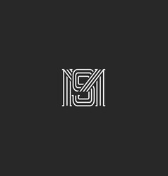 monogram ms letters logo overlapping lines simple vector image