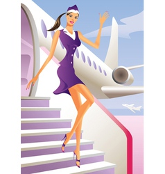 Stewardess welcome aboard in passenger aircraft vector image vector image