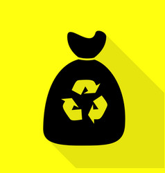 trash bag icon black icon with flat style shadow vector image vector image