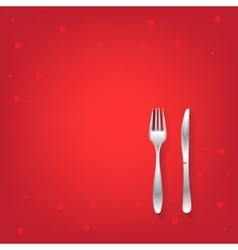 Two red restaurant icons with fork and knife vector image