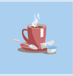 a cup of coffee on a saucer with sugar cream and vector image