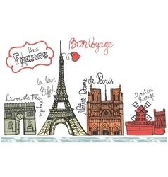 Paris landmark panoramaDoodle colored sketchy vector image