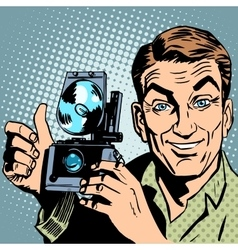 Photographer with retro camera hand gesture all is vector image
