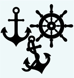 Anchor and rudder vector image