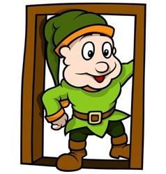 Green Elf At The Door vector image vector image