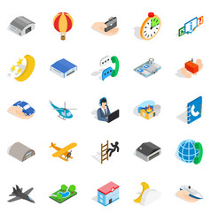 notification center icons set isometric style vector image