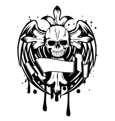skull with cross and wings vector image vector image
