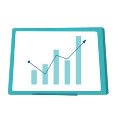 whiteboard with growing bar chart cartoon vector image