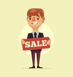 worker man manager character hold sale board vector image