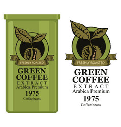 a tin can with label for green coffee vector image