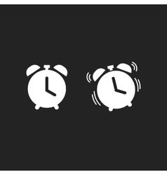 Clock alarm icon isolated on dark black vector image vector image