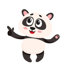funny smiling baby panda character pointing to vector image vector image