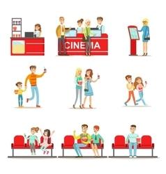 Happy People In Cinema Theatre Purchasing Tickets vector image