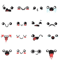 Set of 16 different pieces doddle emotions to vector image